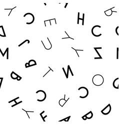Black letter seamless pattern on white background vector