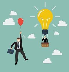 Businessman in lightbulb balloon fly pass vector image vector image