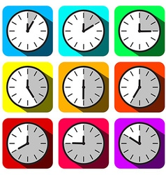 Clock Set Colorful Hour Flat Design Clock Face vector image