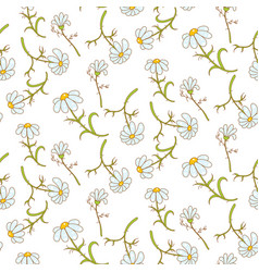 daisy light blue seamless pattern vector image vector image