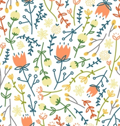 Field flowers doodle pattern 3 vector image
