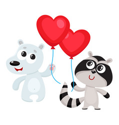 funny bear and raccoon holding red heart shaped vector image vector image