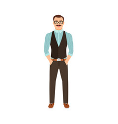 man in hipster style clothes vector image