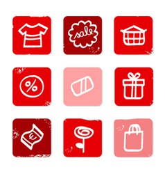 retro shopping icons vector image vector image