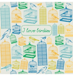 Bird Cages Background Pattern vector image vector image