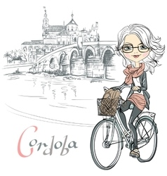 cute girl rides a bicycle in Cordoba vector image vector image