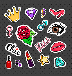 fashion colorful stickers collection vector image