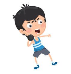 kid throwing shot vector image