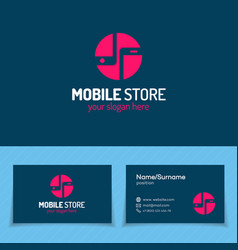 mobile store logo set with silhouette two phone vector image vector image