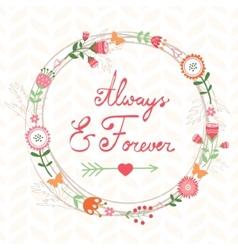 Romantic card with wreath vector