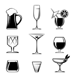 Silhouette Beverage Glass Icons on White vector image vector image