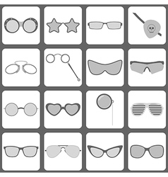 Sunglasses and glasses icons vector image vector image