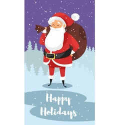 cartoon style of Santa with bag of gifts vector image vector image