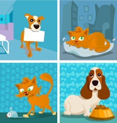 cat and dogs cartoon vector image vector image