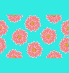 floral pink gerbera seamless pattern on blue vector image
