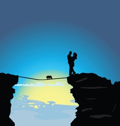 man and girl on the mountain with baby vector image