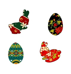 Rabbit and Easter eggs folklore vector image vector image