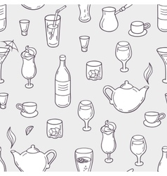 Seamless pattern with stylized doodle drinks in vector image vector image