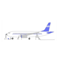 Aircraft repair service aviation engineer workers vector