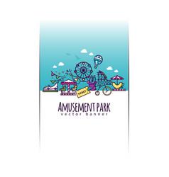 amusement park banner template vector image