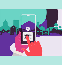 Augmented reality city tourism mobile app concept vector
