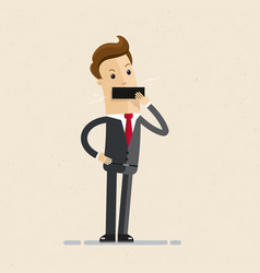businessman tape on his mouth close mouth vector image