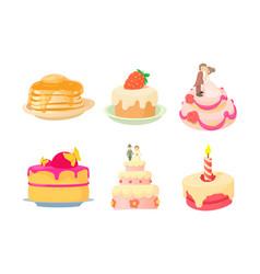 Cake icon set cartoon style vector