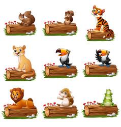 Cartoon animal on tree log vector