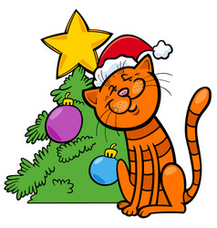 Cat with christmas tree cartoon vector