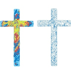 Catholic ornamented cross for Easter holiday vector image