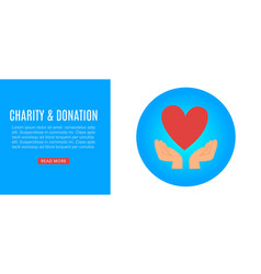 charity and donation help web banner with hands vector image