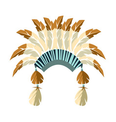 chiefs war bonnet with feathers native american vector image