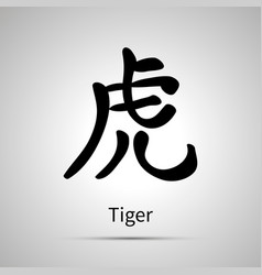 Chinese zodiac symbol tiger hieroglyph simple vector