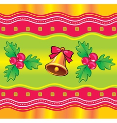 christmas background with holly berry and bell vector image