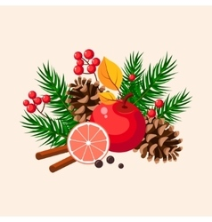 Christmas Design with Fir Grapefruit Berries and vector image