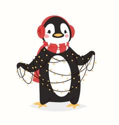 christmas penguin character cartoon cute vector image