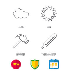 Cloud sun and thermometer icons vector