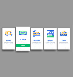 Collection public transport onboarding vector