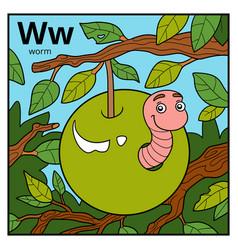 Color alphabet for children letter w worm vector