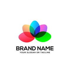 Colorful lotus logo design vector