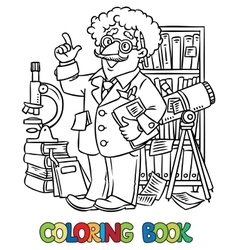 Coloring book of funny scientist or inventor vector image