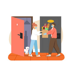 courier in face mask delivering groceries to home vector image