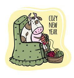 Cow knits and wishes a cozy new year vector