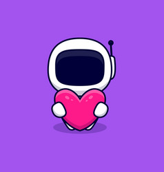 Cute astronaut hug pink heart cartoon icon flat vector