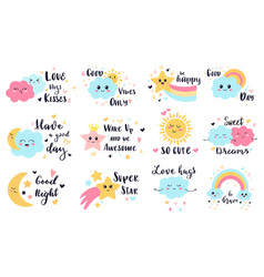 cute baby labels kids sun cloud and rainbow vector image