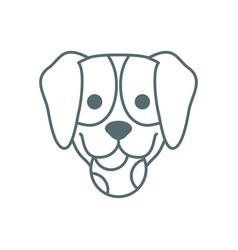 Cute little dachshund head with ball dog line vector