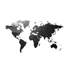 dark geometric world map isolated on white vector image