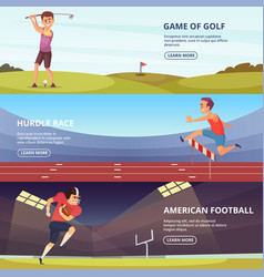 design of horizontal banners with sport peoples in vector image