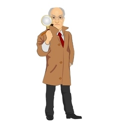 detective exploring through magnifying glass vector image