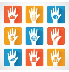 Different business icons with helping hand vector image